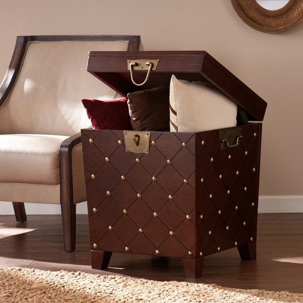 Harper Blvd Nailhead Espresso End Table Trunk