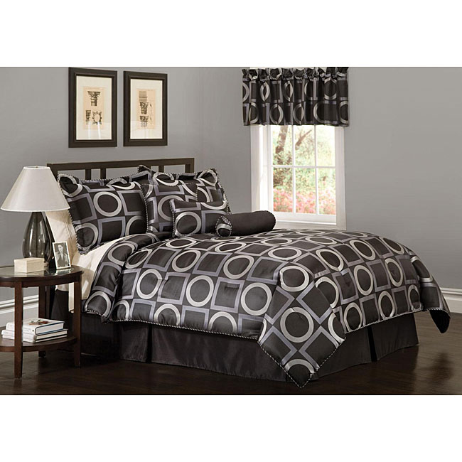 Geo Grid Black 7-piece Jacquard Comforter Set
