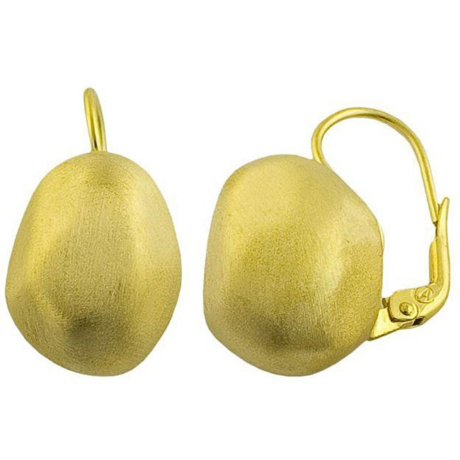 Fremada 18k Yellow Gold over Sterling Silver Nugget Earrings