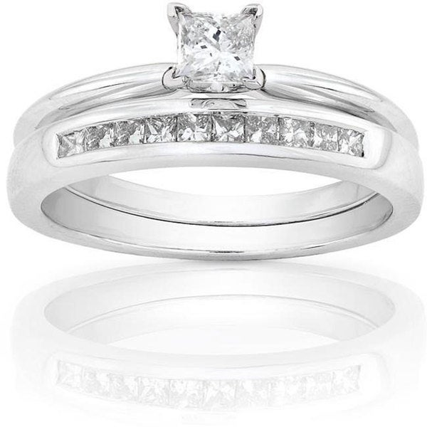 Annello by Kobelli 14k White Gold 1/2ct TDW Princess Diamond Bridal Set (H-I, I1-I2)