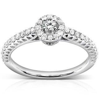 Annello by Kobelli 14k White Gold 1/4ct TDW Round Halo Diamond Promise Ring
