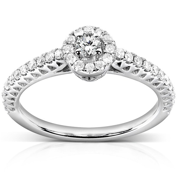 Annello by Kobelli 14k White Gold 1/4ct TDW Round Halo Diamond Promise Ring (H-I, I1-I2)
