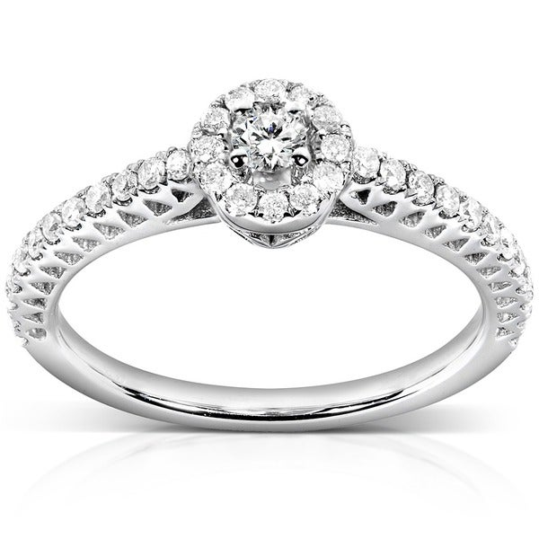 Annello by Kobelli 14k White Gold 1/4ct TDW Round Halo Diamond Promise Ring