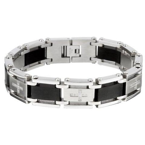 Stainless Steel Men's Cubic Zirconia Cross Bracelet