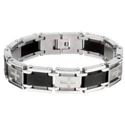 Stainless Steel Men's Cubic Zirconia Cross Bracelet