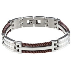 Chocolate Ion-plated Stainless Steel Men's Cable Bracelet
