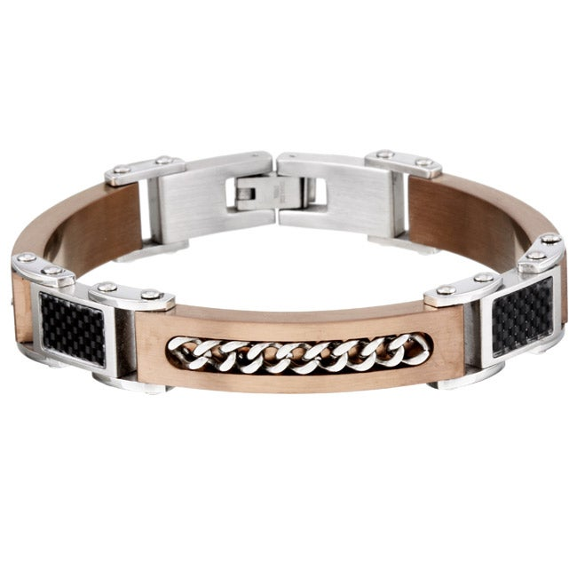 Stainless Steel Men's Chain and Carbon Fiber Bracelet