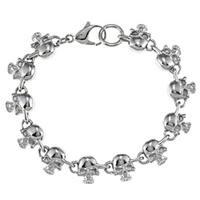 Stainless Steel Men's Skull Link Bracelet