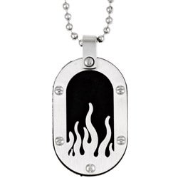Two-tone Stainless Steel Men's Flame Dog Tag Necklace