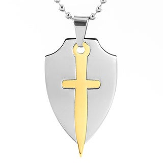 Two-Tone Stainless Steel Sword in Shield Necklace