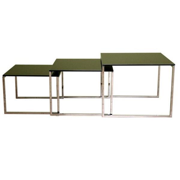 Black Glass Tabletop Nesting Tables (Set of 3)