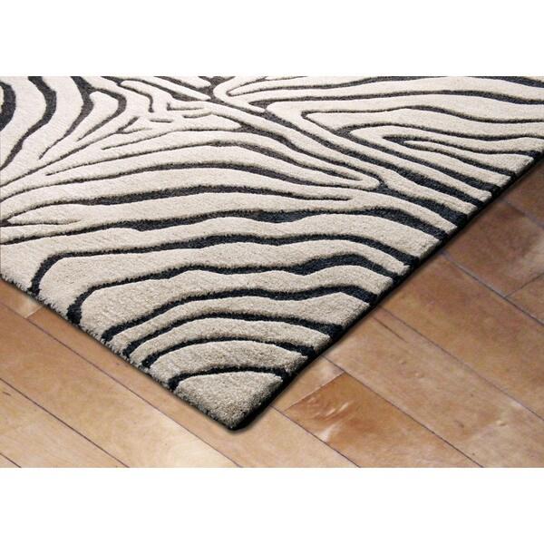 Shop Liora Manne Safari Zebra Black Wool Rug