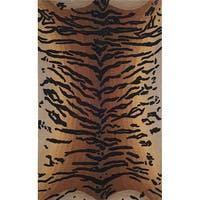 Liora Manne Safari Tiger Brown Wool Rug (5' x 8') - 5' x 8'