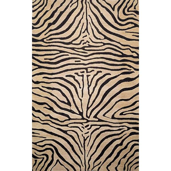 Safari Zebra Black Wool Rug (8' x 10')