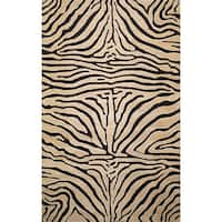 "Liora Manne Safari Zebra Black Wool Rug (3'6 x 5'6) - 3'6"" x 5'6"""