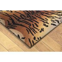 Safari Tiger Brown Wool Rug (3'6 x 5'6)