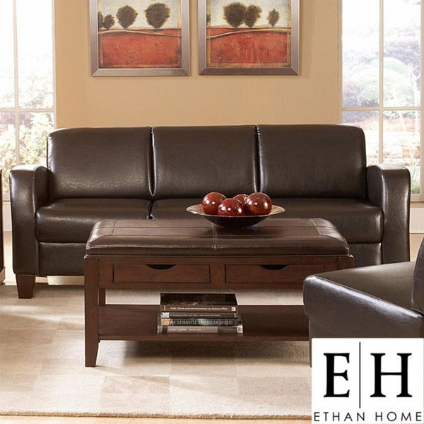Clove Brown Faux Leather Contemporary Sofa