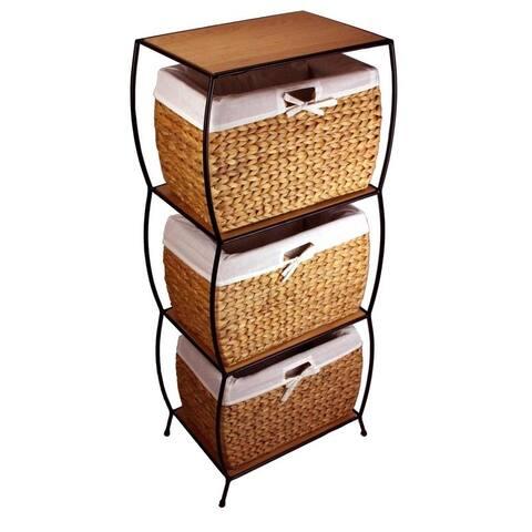Rattan 3-drawer File Cabinet