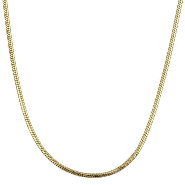 14K Gold over Sterling Silver 18-inch Snake Chain (1 mm)