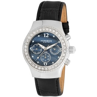 Akribos XXIV Women's Austrian Crystal Multifunction Quartz Black Watch