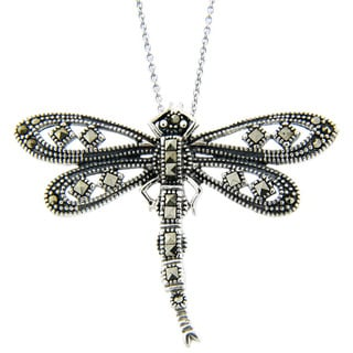 Dolce Giavonna Sterling Silver Marcasite Dragonfly Necklace