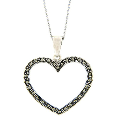 Dolce Giavonna Sterling Silver Marcasite Heart Outline Necklace