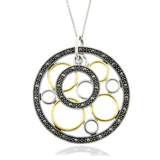Dolce Giavonna Sterling Silver Marcasite Geometric Circle Necklace