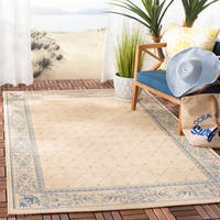 "Safavieh Summer Natural/ Blue Indoor/ Outdoor Rug - 5'-3"" x 7'-7"""