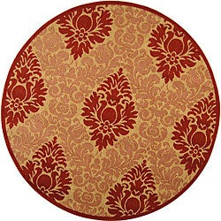 Safavieh Indoor/ Outdoor St. Barts Natural/ Red Rug (6'7 Round)