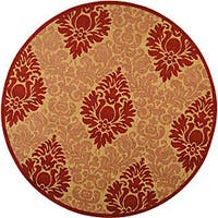 "Safavieh St. Barts Damask Natural/ Red Indoor/ Outdoor Rug - 6'7"" x 6'7"" round"