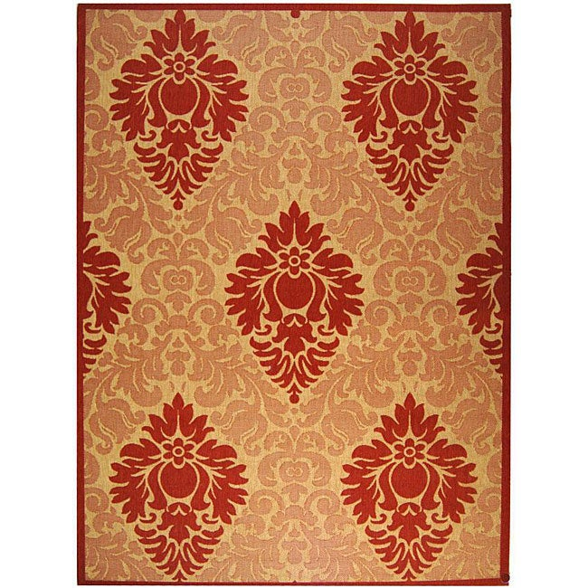 Safavieh St. Barts Damask Natural/ Red Indoor/ Outdoor Rug - 8' x 11'