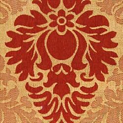 Safavieh St. Barts Damask Natural/ Red Indoor/ Outdoor Rug (8' x 11') - Thumbnail 2