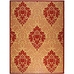 Safavieh St. Barts Damask Natural/ Red Indoor/ Outdoor Rug - 8' x 11' - Thumbnail 0