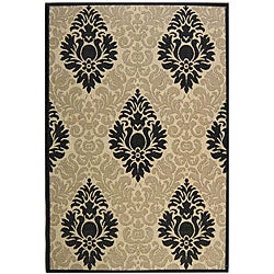 Safavieh St. Barts Damask Sand/ Black Indoor/ Outdoor Rug (5'3 x 7'7)