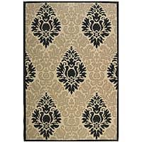 Safavieh St. Barts Damask Sand/ Black Indoor/ Outdoor Rug - 5'3 x 7'7