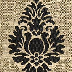 Safavieh St. Barts Damask Sand/ Black Indoor/ Outdoor Rug (6'7 x 9'6)