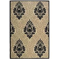 Safavieh St. Barts Damask Sand/ Black Indoor/ Outdoor Rug (8' x 11') - 7'10 x 11'