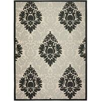 Safavieh St. Barts Damask Sand/ Black Indoor/ Outdoor Rug - 8' X 11'