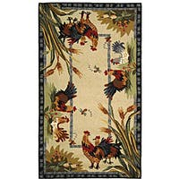 Safavieh Hand-hooked Roosters Ivory Wool Rug - 2'9 x 4'9