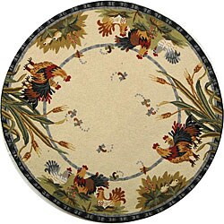 Safavieh Hand-hooked Roosters Ivory Wool Rug (3' Round)
