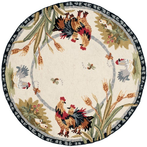 Safavieh Hand-hooked Roosters Ivory Wool Rug (3' Round) - 3' x 3' Round