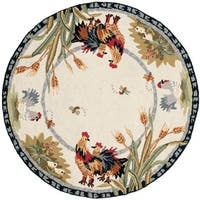 Safavieh Hand-hooked Roosters Ivory Wool Rug (3' Round) - 3' x 3'