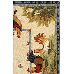 Safavieh Hand-hooked Roosters Ivory Wool Rug (5'3 x 8'3) - Thumbnail 1