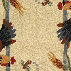 Safavieh Hand-hooked Roosters Ivory Wool Rug (5'3 x 8'3) - Thumbnail 2