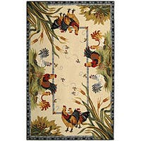 Safavieh Hand-hooked Roosters Ivory Wool Rug (5'3 x 8'3)