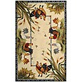 Safavieh Hand-hooked Roosters Ivory Wool Rug - 5'3 x 8'3
