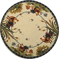 Safavieh Hand-hooked Roosters Ivory Wool Rug - 5'6 Round