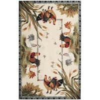 Safavieh Hand-hooked Roosters Ivory Wool Rug - 6' x 9'