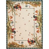 """Safavieh Hand-hooked Roosters Ivory Wool Rug - 7'9"""" x 9'9"""""""