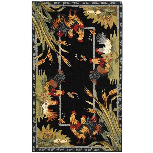 Safavieh Hand-hooked Roosters Black Wool Runner